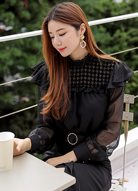 See-through Houndstooth Frill Blouse, Styleonme