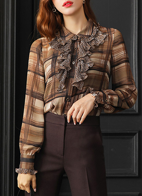 Check Print Button-Up Ruffle Blouse, Styleonme