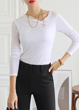 Soft Cowl Neck Long Sleeve T-Shirt, Styleonme