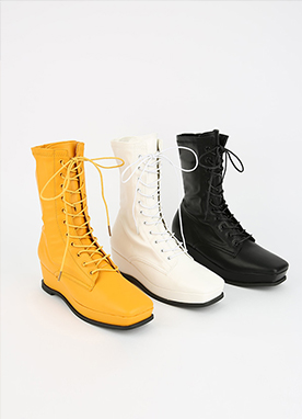 Squared Toe Lace-Up Walking Boots, Styleonme