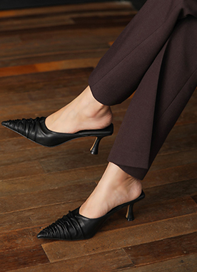 Simple Shirred Pointed Heels, Styleonme