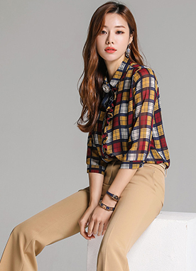 Check Print Chiffon Collared Blouse, Styleonme