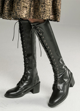 Slim Lace-Up Long Boots, Styleonme