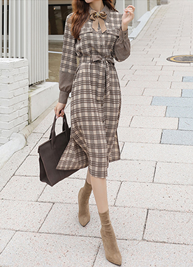 Check Print Belt Tie Flared Shirt Dress, Styleonme