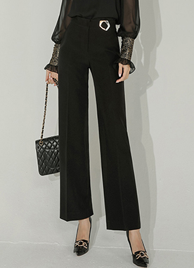 Wide Smart Trousers with Glitter Buckle, Styleonme