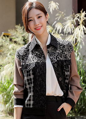 Mix Pattern Blouson Jacket, Styleonme