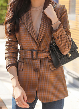 French Chic Check Print Belted Jacket, Styleonme
