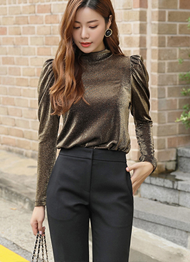 Metallic Puff Sleeve Blouse Tee, Styleonme