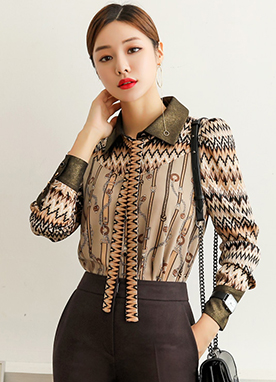Ethnic Belt Mix Print Ribbon Tie Blouse, Styleonme