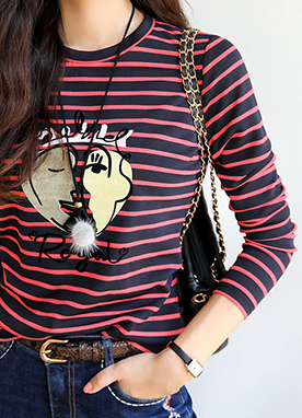 Royal Print Stripe Tee, Styleonme