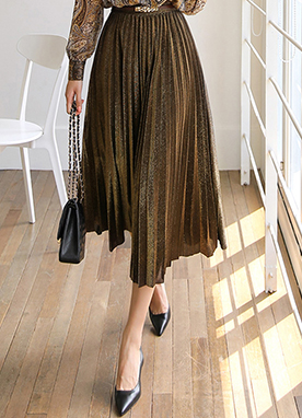 Metallic Gold Pleated Skirt, Styleonme