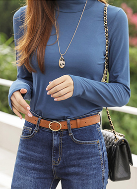 Mock Neck Long Sleeve Tee, Styleonme