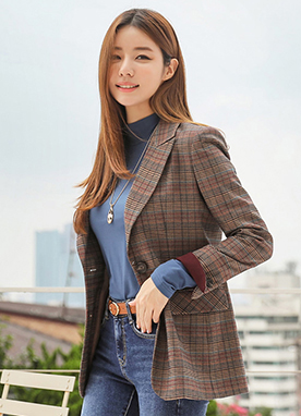 Classic Check Print Tailored Jacket, Styleonme