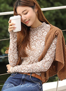 See-through Floral Lace T-Shirt, Styleonme