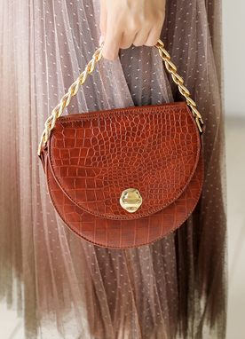 Croc Texture Round Chained Bag, Styleonme