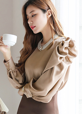 Shirred Puff Sleeve Satin Blouse, Styleonme