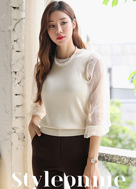 Lace Sleeve Round Neck Knit Top, Styleonme