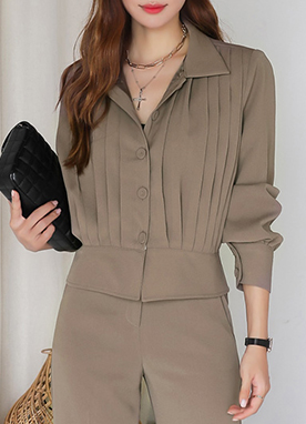 Modern Pleated Detail Collared Jacket, Styleonme