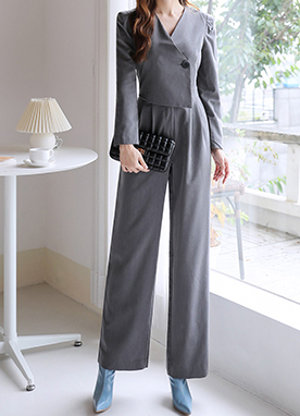 Single Button Modern V-Neck Jumpsuit, Styleonme