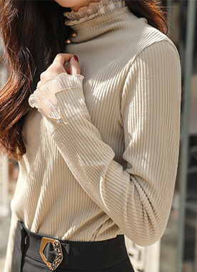 Soft Polka Dot Lace Trim Ribbed Knit Jumper, Styleonme