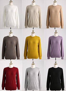 Basic Long Sleeve Knit Tee, Styleonme