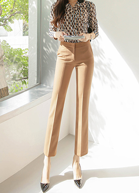 Autumn 5Color Slim Straight Leg Slacks, Styleonme