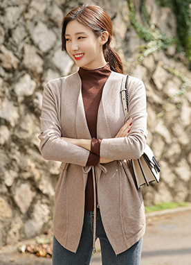 Soft Tie Waist Loose Fit Cardigan , Styleonme