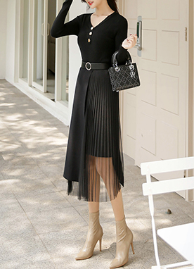 Knit & Chiffon Pleated Long Skirt, Styleonme
