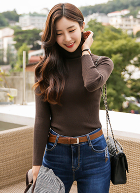 [1+1] Ribbed Roll Neck Jumper in 12 Colors, Styleonme