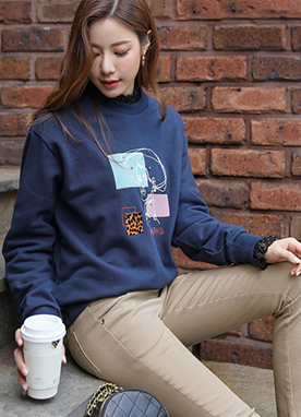 Block Patch Pattern Print Sweatshirt, Styleonme