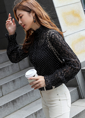 Polka Dot Lace Shirred Top, Styleonme