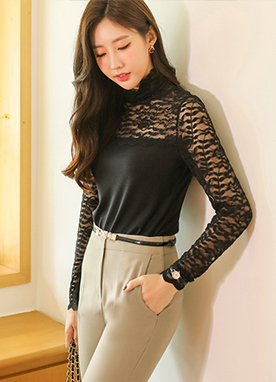 Lace Long Sleeve Turtle Neck Top, Styleonme