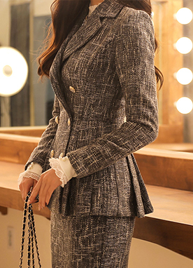 Simple Slim Tweed Jacket with Pleated Ends, Styleonme