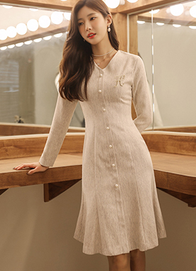 Elegant Swing Dress with Pearl Buttons, Styleonme