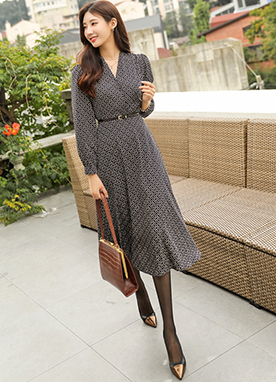 Diamond Pattern Maxi Wrap Dress, Styleonme