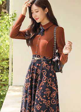 Two Color Combined A-line Knit Dress with Belt, Styleonme