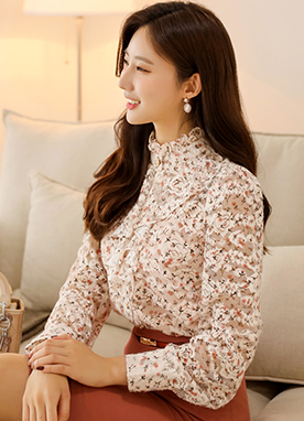 Ruffle Neck Blouse in Soft Floral Pattern, Styleonme