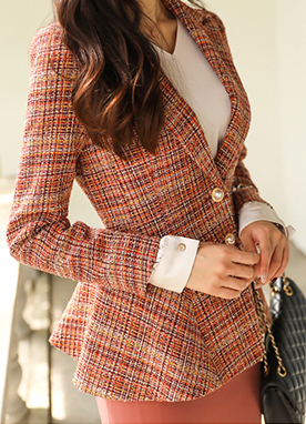 Tailored Tweed Jacket with Pearl Buttons, Styleonme