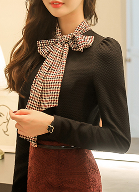 Hound Check Ribbon Tie Blouse , Styleonme