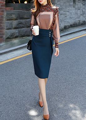 Frill Midi Pencil Skirt with Pearls, Styleonme