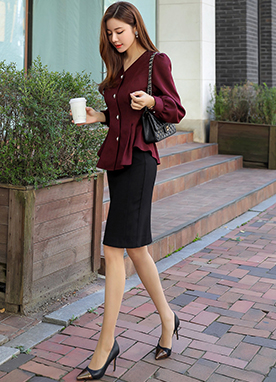 Daily Basic Pencil Skirt, Styleonme