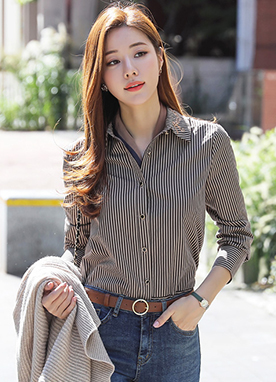Fitted Stripe Shirt with Embroidered Collar, Styleonme