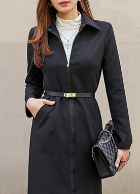Formal Long Jacket with Belt, Styleonme