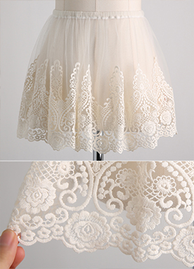 Soft Embroidered Lace Inner Skirt , Styleonme