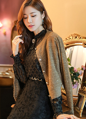 Brown Gold Glitter Cardigan, Styleonme
