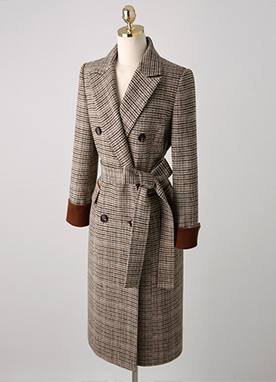 Hound Check 25 Wool Mix Belted Long Coat, Styleonme