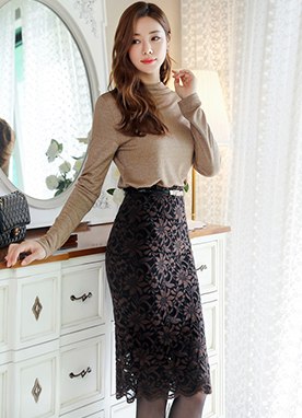 5Color Lace Pencil Skirt, Styleonme