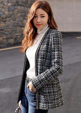 Fitted Collarless Tweed Jacket, Styleonme