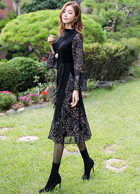 Knit Combined Flower Print Chiffon Dress, Styleonme