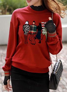Colorful Persons Sweatshirt with Gold Cuff Detail, Styleonme